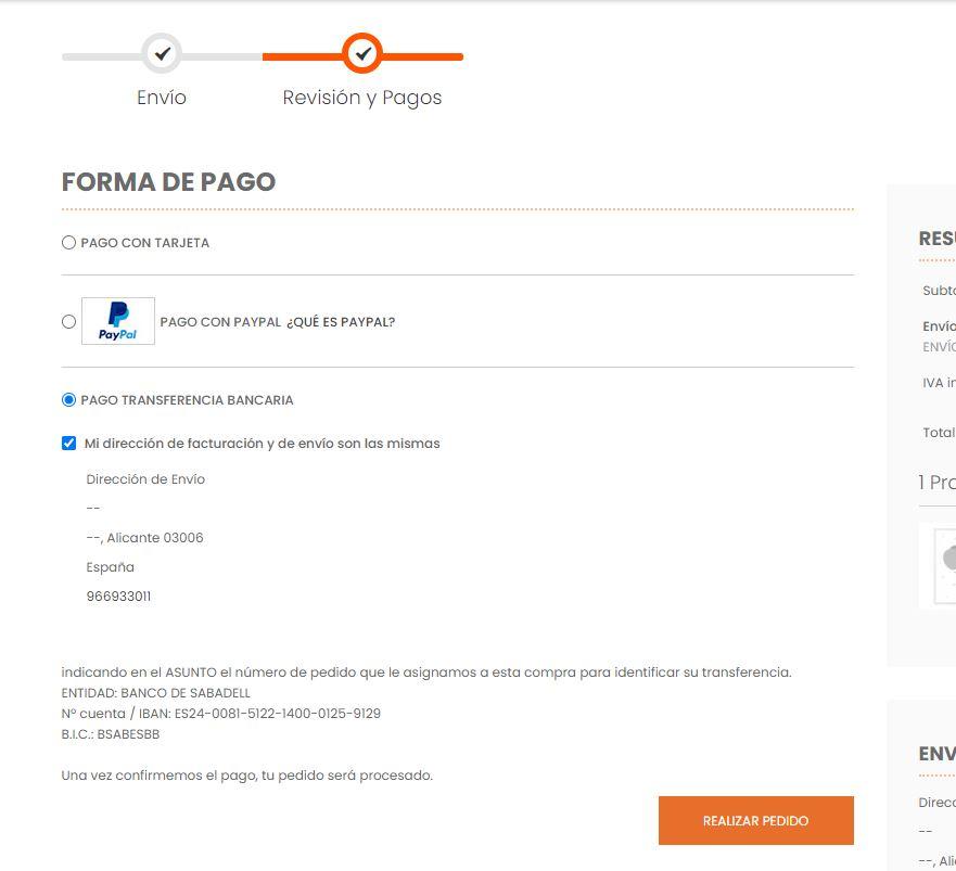 Pantalla Métodos de pago Transferencia